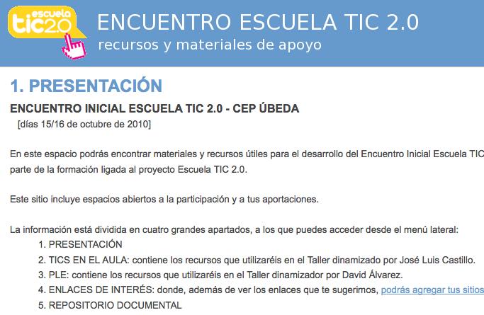 Encuentro Inicial Escuela TIC 2.0 en Úbeda [Jaén]