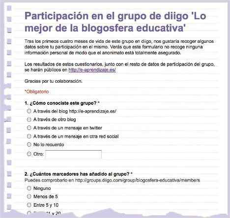 Grupo La Blogosfera Educativa en diigo [cuestionario]